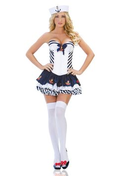 Naughty Girl Sailor Mini Dress Adult Sexy Ladies White/Blue Burlesque Theme Party Fancy Dress Up Outfit Women Costumes Brand New Sailor Halloween Costumes, Halloween City, Adult Costumes, Costumes For Women, Dress Blues Marines, Fantasias Halloween, Trends, Fancy Dress, Dresses