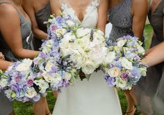 Romantic bouquets of cream, + soft purples look perfect against the smokey gray bridesmaids dresses | Stonebrae Country Club, East Bay CA | S&J Photography