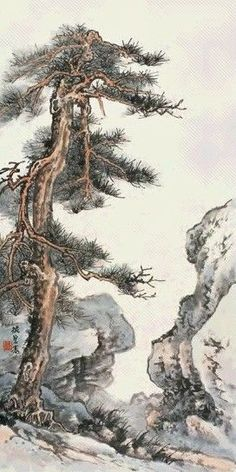 Asian Landscape, Chinese Landscape Painting, Japanese Painting, Chinese Painting, Landscape Paintings, Pine Tree Painting, Sumi E Painting, Japanese Bird, Oriental