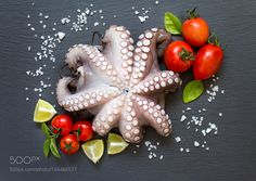 Raw octopus with lime tomatoes and basil by karisamail