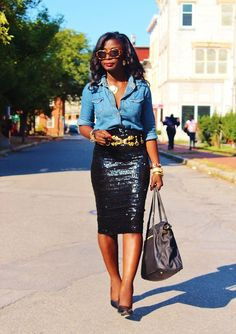 Denim and Sequin!!! This is working the casual glam look!
