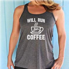 58ae93faee591 Womens Flowy Workout Tank Top. Will Run for Coffee. Fitness Motivation.  Running Tank. Brave Angel Shop