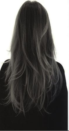 Ombre Hair, Balayage Hair, Charcoal Hair, Hair Color For Black Hair, Dark Grey Hair, Aesthetic Hair, Hair Dye Colors, Grunge Hair, Bad Hair