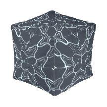 Fun footrest cubes!  Great kids/dorm room decor.  Blue Grunge Geometric Tile Pattern Cube Pouf