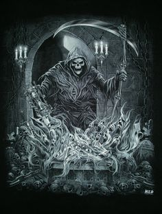 ~ † Quit your whining, or I'll give you a reason to scream! † The Grim Reaper ~ Grim Reaper Art, Don't Fear The Reaper, Arte Horror, Horror Art, Dark Fantasy Art, Dark Art, Reaper Drawing, Evvi Art, Skull Art