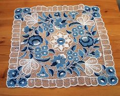Kalocsa lace (Richelieu) small tablecloth with authentic Hungarian embroidery patterns - (Id: LACE-KAL-TER-BLUE-177)