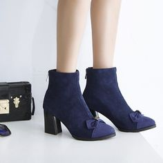 Fashion Womens Elegant Metal Decor Bowknot Block High Heels Leather Ankle Boots