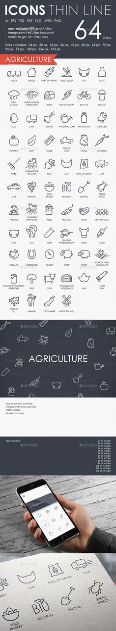 Agriculture thinline icons — Photoshop PSD #line #services • Available here → https://graphicriver.net/item/agriculture-thinline-icons/15298368?ref=pxcr