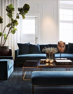 Blue sofa and arm chair, coffee table made in glass and metal, egyptian mask and floor plant.