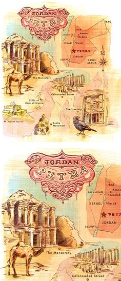 Illustrated map of Petra, Jordan Travel Maps, Travel Posters, We Are The World, Wonders Of The World, Jordan Travel, Travel Illustration, Thinking Day, Amman, Destinations