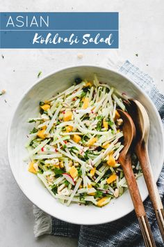 Asian Kohlrabi Salad - Crisp kohlrabi, radishes, and mango tossed in a tangy sesame dressing. Use your kohlrabi from the farmer's market to make this salad! New Recipes, Whole Food Recipes, Salad Recipes, Cooking Recipes, Juice Recipes, Detox Recipes, Favorite Recipes, Kohlrabi Recipes, Recipes