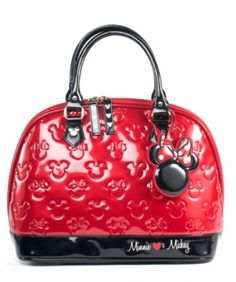 646632d85f8d Loungefly Mickey and Minnie Red Black Patent Leather Embossed Tote Disney  Handbags