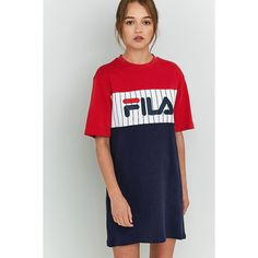 Fila Ruby T-Shirt Dress (€40) ❤ liked on Polyvore featuring dresses, assorted, short-sleeve dresses, short sleeve t-shirt dress, striped short sleeve dress, crew neck dress and striped tee shirt dress