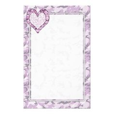 Woodland Pink/Purple  #Camouflage Heart on Camo Stationery Paper by #Camouflage4you #pinkcamo
