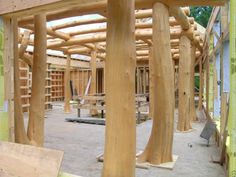 Timber Frame with whole trunks