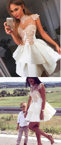 Cute Appliqued Homecoming Dress,A-Line High Neck Ivory Short Prom Dress,Cap Sleeve Party Gown