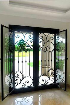Super ideas for wrought iron front door home Iron Front Door, Double Front Doors, Glass Front Door, Solid Doors, Glass Door, Window Grill Design, Door Design, House Design, Burglar Bars
