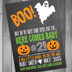Pregnancy Announcement Halloween Pregnancy by CLaceyDesign on Etsy, $15.00