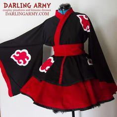 Akatsuki Naruto Shippiden Cosplay Kimono Dress Wa Lolita Skirt Accessory | Darling Army