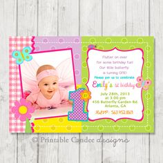 St Birthday First Birthday Butterfly By Stockberrystudio On Etsy - Butterfly birthday invitation images