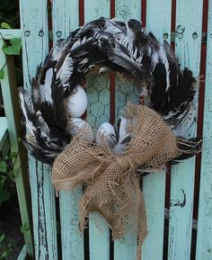 Chicken Feather Wreath Chicken Coop Decor Chicken Coop by dables                                                                                                                                                                                 More