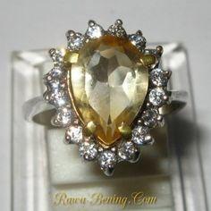 Cincin Wanita Silver 925 Batu Permata Citrine Pear Shape Ring 6US