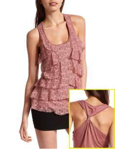 Tiered Sparkle Lace Tank; Small;  $19.99