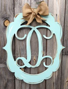 Monogram Door Decor Vintage Modern Distressed By Ladeedahart