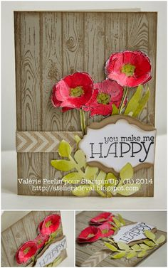 Stampin' Up! Occasions catalog stamp sets hardwood, Happy Watercolor; beautiful poppy flower card!
