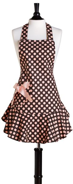 Brown & Pink Polka Dot Apron Set