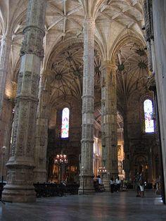 Still in the original Manuelin Style, the interior of Mosteiro dos Jerónimos