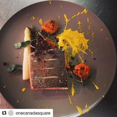 Amazing food here and very artistic !!!  #Repost @onecanadasquare with @repostapp  Wild Scottish salmon asparagus sweet potato. #salmon #scottish #fish #gnocchi #asparagus #splat #red #yellow #pink #instafood #foodporn #foodgasm #cheflife #delicious #canarywharf @rosschefs @etmgroup