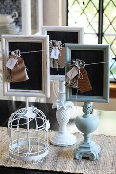 upcycled junk store parts and frames into chalkboards