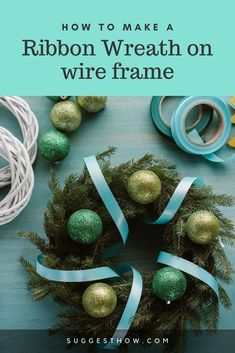 The most common method of making a ribbon wreath is by using a wireframe by supporting the ribbon. Know how to make a ribbon wreath on wire frame. Ribbon Wreath Tutorial, Easy Burlap Wreath, Diy Ribbon, Ribbon Wreaths, Wreath Crafts, Deco Mesh Wreaths, Diy Wreath, Ribbon Bows, Fall Wreaths