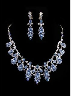 Bijoux Bijoux (Gorgeous Blue Rhinestones Alloy Plated Wedding Jewelry Set Including Necklace And Earrings 011005487)