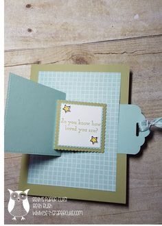 Hi Everyone, Today I want to show you a fun card with a little motion to it. When you pull the tab, the front panel flips open to reveal ... Slider Cards, Flip Cards, Fancy Fold Cards, Folded Cards, Joy Fold Card, Card Making Tips, Card Making Tutorials, Card Making Techniques, Stampin Up Karten
