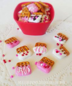 A very simple Valentine's Day treat - Chocolate covered bite sized pretzels