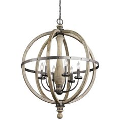 Evan 6 Light Pendant (43327DAG)-Distressed Wood & Metal