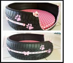 RECYCLE an old tired into a dog bed. GREAT idea!