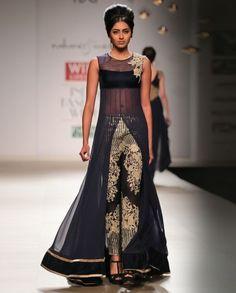 Navy Blue Jacket with Embroidered Pants- Buy Rabani  Rakha Wills AW'14,Rabani  Rakha Online | Exclusively.in