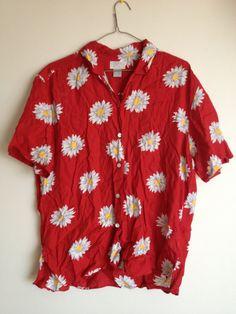 90s ESPRIT Daisy Pattern tshirt blouse 90s kitsch grunge festival