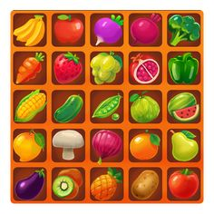 Game Fruit, Food Game, Fruit Icons, Food Icons, Kawaii Fruit, Match 3 Games, What To Draw, Game Background, Game Icon
