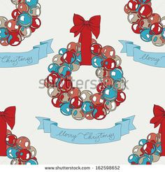 Vector Christmas pattern. Vintage Seamless christmas background.Modern stylish texture.Hand drawn illustration with garland and banner. - stock vector