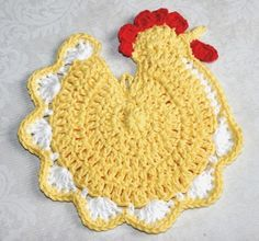 Image detail for -Chicken chic Crochet Pot holder Potholder Hot Pad Red Blue Yellow ...