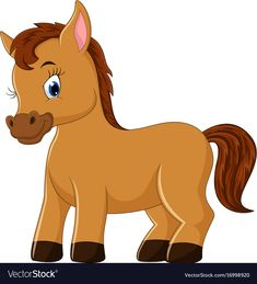 Cute horse cartoon vector image on VectorStock Art Drawings For Kids, Drawing For Kids, Cartoon Drawings, Baby Horses, Cute Horses, Baby Clip Art, Baby Art, Cartoon Caracters, Baby Animals