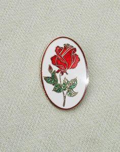 Red Rose Pendant or Brooch - Vintage Hallmark Greeting Cards - 1979
