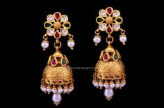 Latest gold antique jhumka designs (2017 collections). For more jhumka designs, visit our complete catalogue.