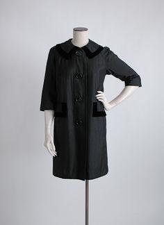early 1960s Halle Bros black raw silk + velvet coat * hemlockvintage.com
