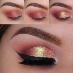 Makeup Geek Eyeshadow: Bitten Cocoa Bear, Peach Smoothie, Poppy & Mango Tango.  Makeup Geek Foiled Eyeshadow in Whimsical.   Makeup Geek Duochrome Pigment in Hologram.  Makeup Geek Gel Liner in Immortal