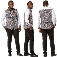 African femi men long sleeve shirt in 2019 african men fashi African Shirts For Men, African Dresses Men, African Clothing For Men, African Attire, African Wear, African Tops, African Fashion Designers, African Print Fashion, African American Fashion